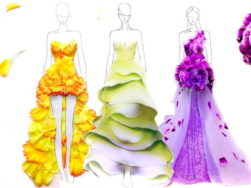 Bozzetti di moda creati con i petali di fiori for Disegni di casa alla moda